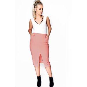 Boohoo Plus Midi Pencil Ribbed Skirt - Bright Pink